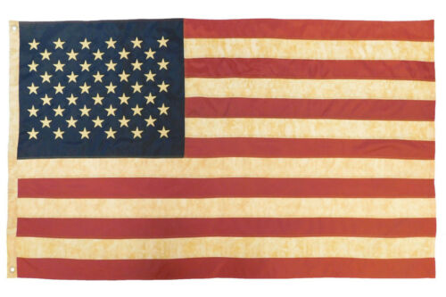 3x5 Vintage American Flag Embroidered Tea Stained USA 50 Star 210D Oxford Flag