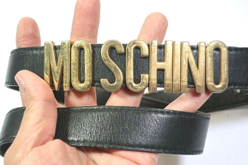 Vintage MOSCHINO Metal Black Leather Belt 24 - 28 Waistline
