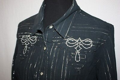 Roughrider By Circle T Black Silver Pearl Snap Western Shirt Sz L -