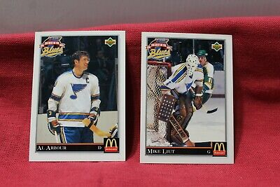Set of 2 Best of Blues McDonalds Hockey Cards Al Arbour and Mike