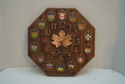 Vintage Canadian Wall Clock, Vancouver With All Canadian Provinces
