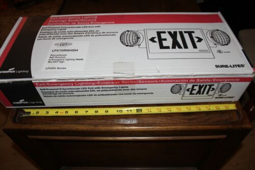 Cooper Lighting Sure-Lites Red Exit Sign with Self Powered LED Lights LPX70RWHDH