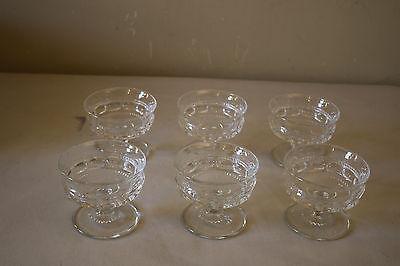 Set of 6 Clear Glass Custard Dessert Dish Cups