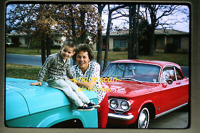 1965 Woman with Red Chevy Corvair Car, Original 35mm Photo Slide a5b