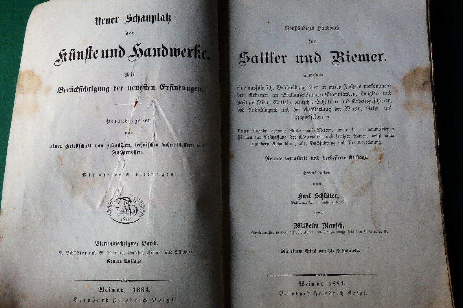 Sattler und Riemer 1884 Reitutensilien Sattel Kutschgeschirr Peitschen Leder