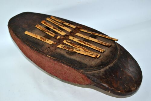 African Sanza Musical instrument Thumb Tribal Piano Ethnique wooden / Reeds 19th
