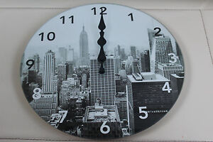 30CM NEW YORK GLASS CLOCK  ROUND WALL CLOCK KITCHEN DINING BEDROOM CLOCK