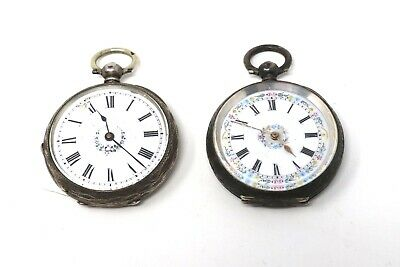 x2 Ladies Antique Victorian Sterling Key Wind Fob Pocket Watch 78.7g A/F #28897