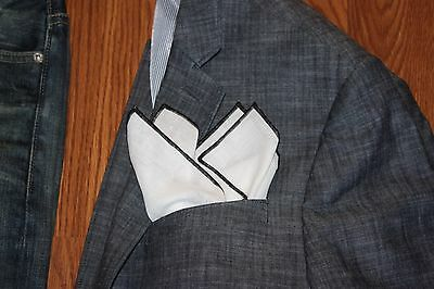 Men's White 100% Linen Pocket Square with Black Trim
