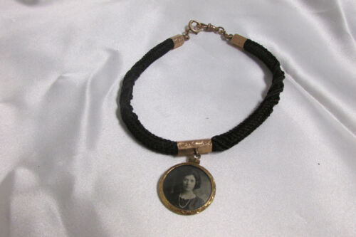 Antique Victorian Mourning Hair Bracelet w/ Picture Pendant Gold Filled?
