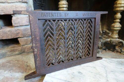 """Antique Cast Iron """"A WISSLER"""" BASEMENT WINDOW FRAME GRILL & GLASS 1874 Casement"""