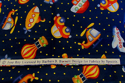 Barbara B.Barnett by Spectrix Cotton Fabric 1 1/2  yards ~ Cars-Boats-Boat