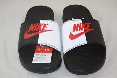 New Nike BENASSI JDI Men's Black/Game Red-White 343880-006 Slide Sandals