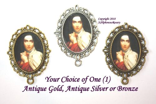 St. Teresa of Avila  Rosary Center #2 | Choice of Silver, Bronze, Antique Gold
