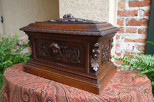 Antique French Carved Walnut Wedding Box Chest Jewelry Cellarette Black Forest