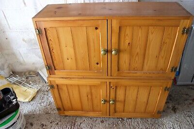 Vintage Retro Rustic Shabby Chic Solid Pitch Pine Kitchen Cupboards Cabinets