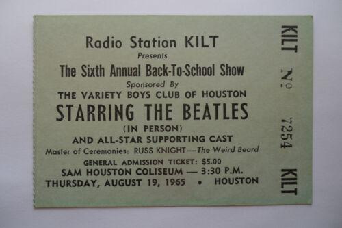 THE BEATLES Original__1965__CONCERT TICKET STUB__Houston__EX+
