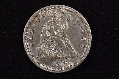 1861 25C LIBERTY SEATED QUARTER CHOICE AU