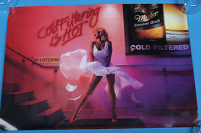 "Miller Genuine Draft beer poster Cold Filtering 20""x28 Marilyn Monroe look alike"
