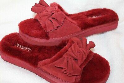 NIB UGG Koolaburra Women's Fur Bow Slide Slippers Red 7 8 9 10 11