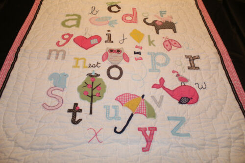 Pottery Barn Kids Pink Animal Alphabet Toddler Crib Quilt Girls Reversible