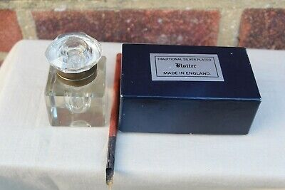 QUALITY HEAVY VINTAGE LARGE INK WELL DIP PEN & SILVER PLATED BLOTTER BOXED.