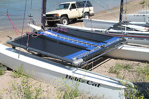 Hobie Cat 14 NONTURBO Trampoline New Black Mesh with Pocket And Blue Tough Wrap