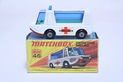 VINTAGE MATCHBOX SUPERFAST NO. 46 STRETCHA FETCHA AMBULANCE W/ BOX