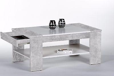 Couchtisch Finley Plus, Beton Weiß, Wohnzimmertisch, Stubentisch, Tisch, 100x58 Couch, Couchtisch