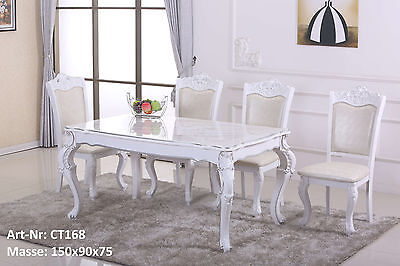 Esstisch Küchentisch Tisch Silber Dekor Mod.ET008 Creme Weiß Hochglanz