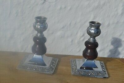 Pair of Small Chrome and Wooden Candlesticks