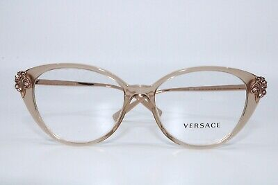 Versace VE3262B 5215 TRANSPARENT ROSE GOLD Cat Eye EYEGLASSES New Authentic 54