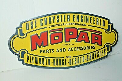 "MoPar Parts and Accessories Metal Sign 18"" x 9"" Chrysler Plymouth Dodge Desoto"