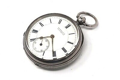 Heavy Antique Victorian C1902 Solid Silver Bottomley's Key Wind Pocket Watch A/F