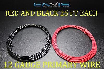 12 GAUGE WIRE 50 FT ENNIS ELECTRONICS 25 RED 25 BLACK PRIMARY AWG COPPER (Red Electronics)