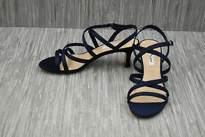 Nina Genaya Strappy Satin Evening Sandals, Women's Size 10W, Navy Nina Satin Strappy Sandals