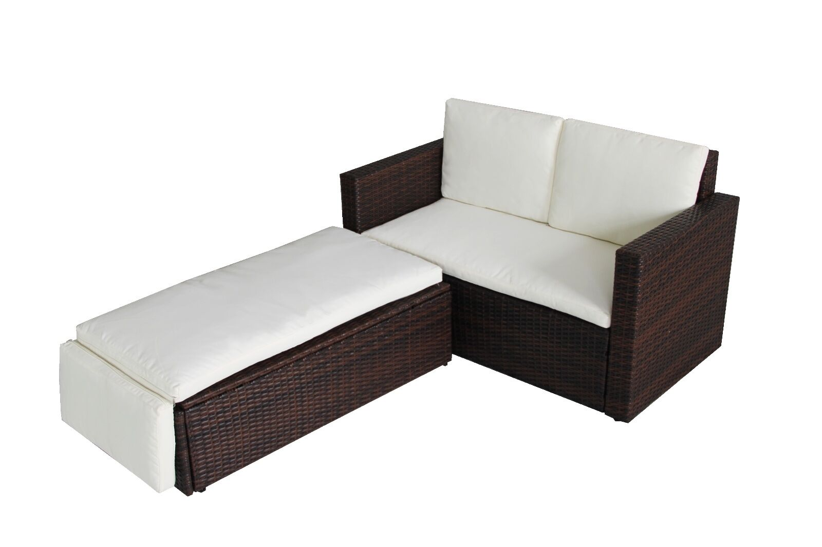 Garden Furniture - Rattan Outdoor Garden Sofa Furniture Love Bed Patio Sun bed 2 seater Brown New