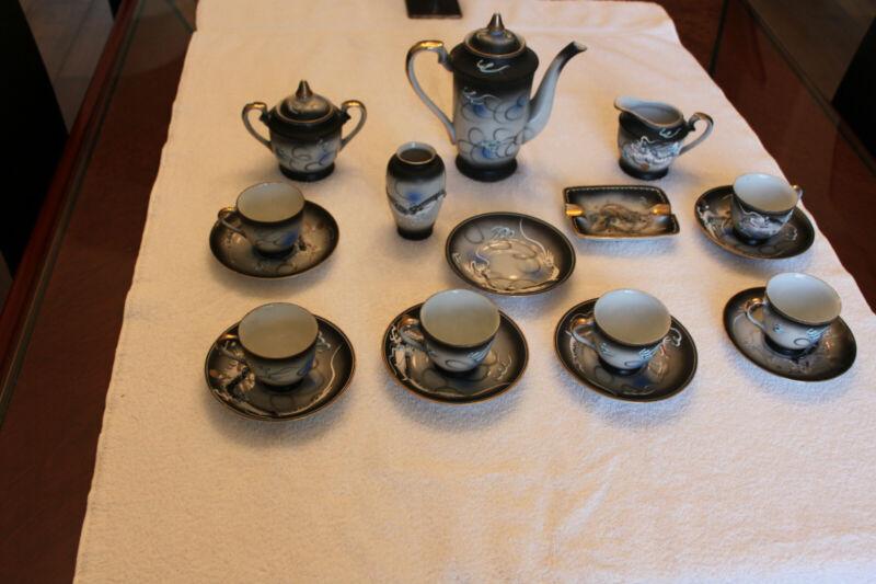 Japanese Moriage Dragon Tea Set with Visible Geisha in Tea Cups, (Lithophane)
