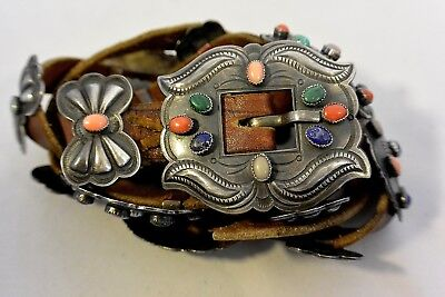 7 5 Ozt 69 Stones  Harry Morgan Signed Navajo Concho Belt Buckle Sterling Silver