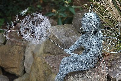 fairy wire art sculpture for inside or garden, unique hand crafted