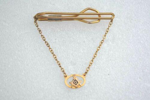 Vintage Masonic Freemason Tie Bar w/ 10K Gold Chain & Signet Rolled Plate Clip