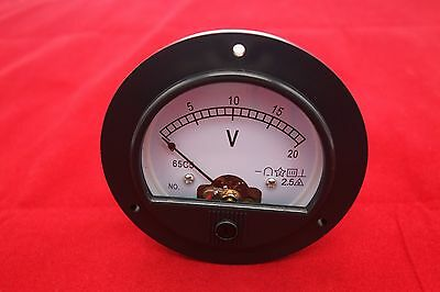 Dc 0-20v Analog Voltmeter Voltage Panel Meter Dia. 90mm Dh62 Direct Connect