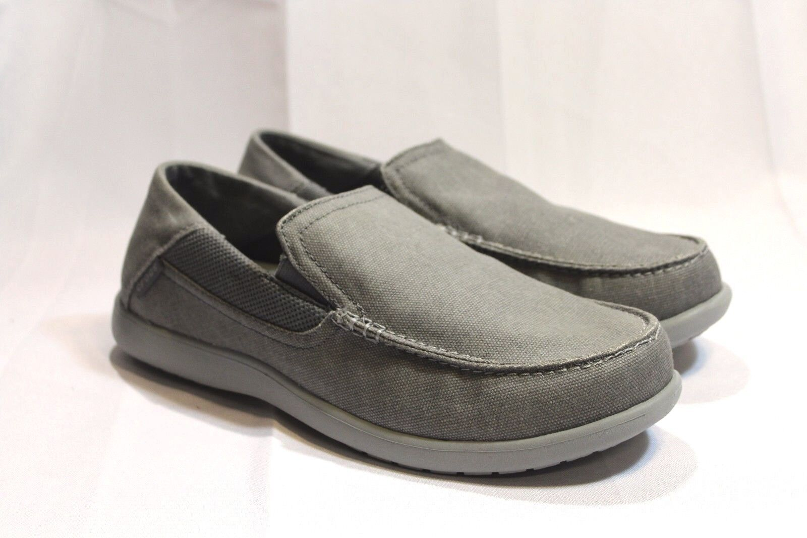 New Men's Gray Crocs Santa Cruz 2 Slip on canvas casual shoes