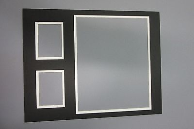 Picture Framing Mat 11x14 for 10x8 photo & 2 sports cards Black with White