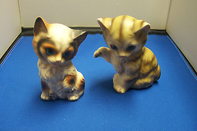 PAIR OF VINTAGE CAT FIGURINES - MADE IN JAPAN