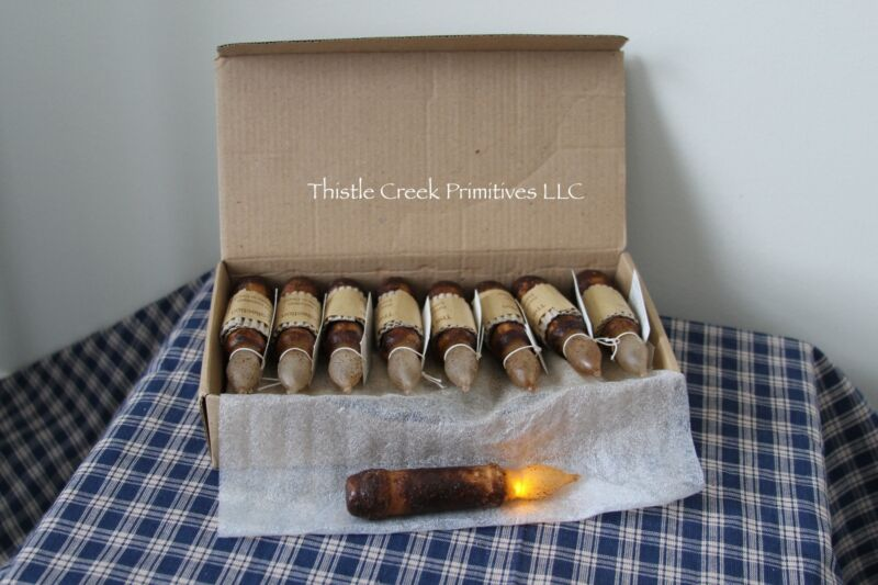 """Box of 18 - LED Burnt Mustard 4.5"""" Battery Operated TIMER Taper Candles"""