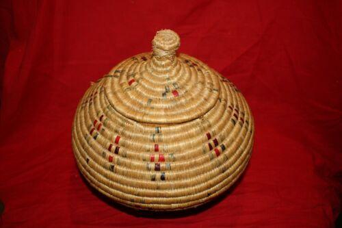 "Large Hooper Bay Basket with Geometric Dyed Gut Design 9"" Diameter"