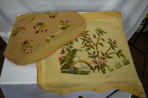 Two Antique Floral Needlepoint Seat Covers