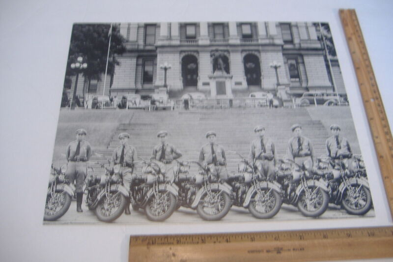 "~MOTORCYCLE POLICE~DENVER~ AROUND 1936~14"" X 11"" BLACK & WHITE PHOTO REPRINT~"