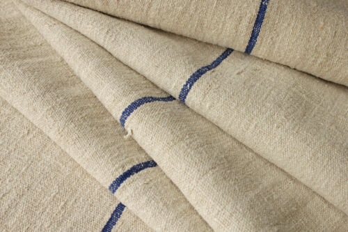 Antique grain sack fabric hemp linen bolt 4.3 yards Blue center stripe striated